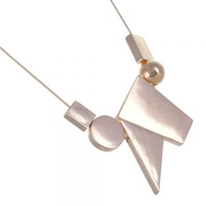 Geometric Costume Jewellery: Rose Gold Necklace with Larger Mixed Shape Design