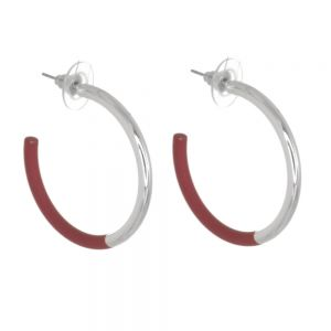 Contemporary Fashion Jewellery: Chunky 3.5cm Silver and Mulberry 3/4 Hoop Earrings (I52)E)