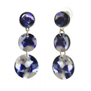 Contemporary Fashion Jewellery: Long Triple Circle Earrings with Blue Marbled Effect