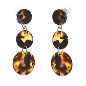Contemporary Fashion Jewellery: Long Triple Circle Earrings with Tortoise Shell Effect