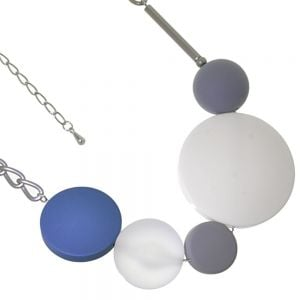 Gracee Fashion Jewellery: Chunky Statement Necklace with Grey, Teal and White Circle and Sphere Beads