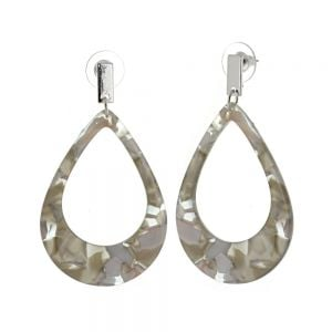 Contemporary Fashion Jewellery: Large Teardop Earrings with Grey Marbled Effect