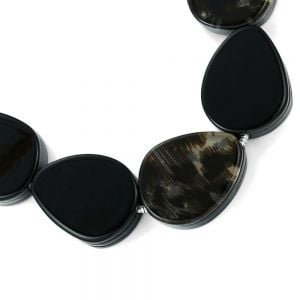 Stunning Fashion Jewellery: Silver Necklace with Chunky Black and Leopard-Print Rounded Shapes