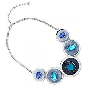 Statement Fashion Jewellery: Chunky Necklace with Layered Concave Circles and Gems in Contrasting Shades of Blue