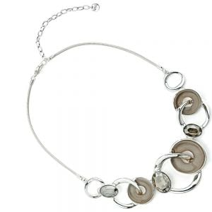 Beautiful Fashion Jewellery: Subtly Shimmery Taupe and Silver Twisted Linked Circles Necklace with Sparkly Champagne Gems