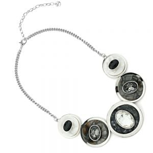 Statement Fashion Jewellery: Chunky Necklace with Layered Concave Circles and Gems in Marbled Effect Black and White