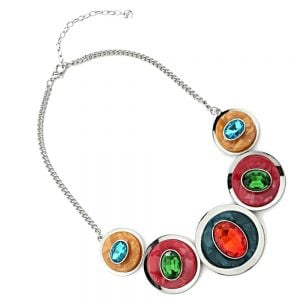 Statement Fashion Jewellery: Chunky Necklace with Layered Concave Circles and Gems in Pink, Orange, Blue and Green