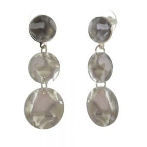 Contemporary Fashion Jewellery: Long Triple Circle Earrings with Grey Marbled Effect