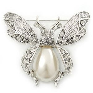 Insect Brooch with Oxidised Silver Metal and Faux Pearl Detail