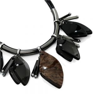 Statement Fashion Jewellery: Black Cord Necklace with Translucent Black and Tigers-Eye Acrylic Dangling Petals