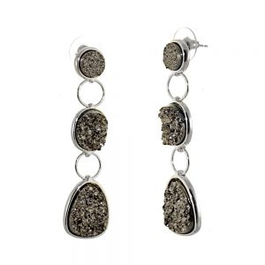 Striking Fashion Jewellery: Statement Earrings with Triple Grey Druzy Drops (6.5cm x 1.7cm) (I8)g)
