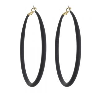 Fun Fashion Jewellery: Large 73mm Hooped Earrings with Black Rubber Neoprene Coating (M583)B)