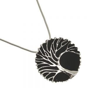Elegant Fashion Jewellery: Silver Tree of Life Pendant With Black Background and Lacy Frilled Edge