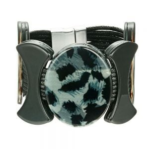 Stunning Fashion Jewellery: Black Cord Bracelet with Chunky Blue Leopard Print Ovals