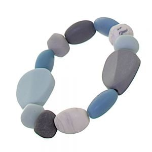 Striking Fashion Jewellery: Blue, Grey and White Pebble Stretch Bracelet (M581)