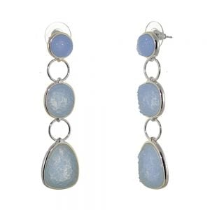 Striking Fashion Jewellery: Statement Earrings with Triple Blue Druzy Drops (6.5cm x 1.7cm) (I8)b)
