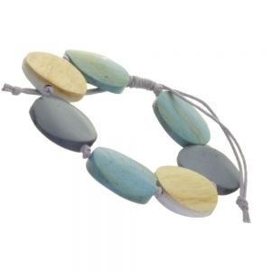 Beautiful Fashion Jewellery: Adjustable Grey Cord Bracelet with Cream, Turquoise and Grey Wooden Disc