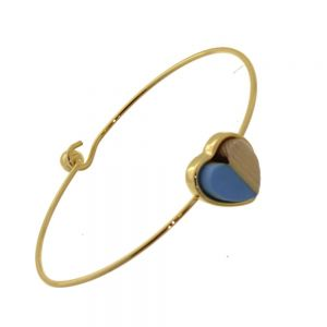 Beautiful Fashion Jewellery: Simple Gold Bangle with Wooden and Pastel Blue Acrylic Heart  (6cm Diameter) (I2)B)