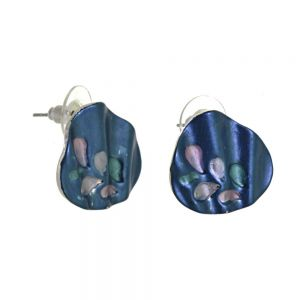 Colourful Fashion Jewellery:  Beautiful Blue Rippled Abstract Earrings with Pastel Leaf Motif