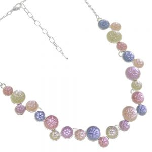 Fun Fashion Jewellery: Pastel Rainbow Tone Necklace with Textured Detail Circle Pendants