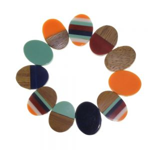 Fashion Jewellery - RESIN & WOOD BRACELET IN ORANGE AND BLUE(M172B)O