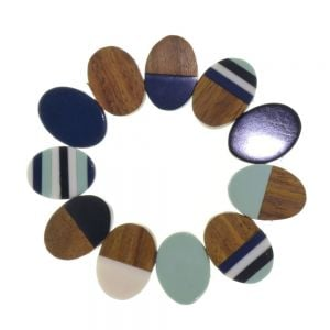 Fashion Jewellery - MIXED SHAPE RESIN & WOOD BRACELET IN NAVY BLUE (M172B)B