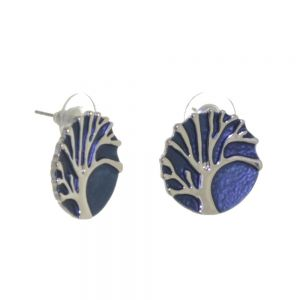 Elegant Fashion Jewellery: Silver Tree of Life Stud earrings With Grey-Blue Background and Lacy Frilled Edging