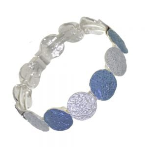 Stunning Fashion Jewellery: Magnetic Light Blue and Navy Bracelet with Rough Textured Finish