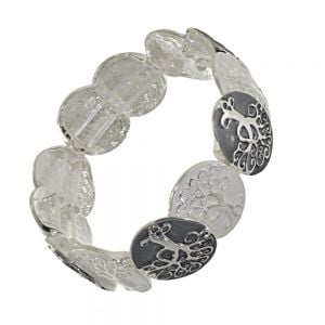 Stunning Fashion Jewellery: Chunky Grey and White Bracelet with Elaborate Twisting Tree Motif