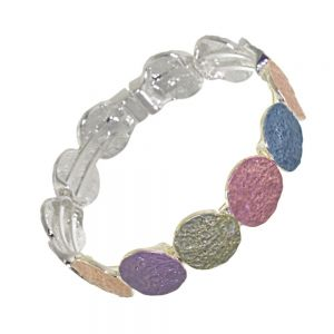 Stunning Fashion Jewellery: Magnetic Rainbow Colours Bracelet with Rough Textured Finish