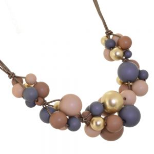 Quirky Costume Jewellery: Brown Triple Strand Necklace with Neoprene Coated Earth Tone and Gold Beads (M74)