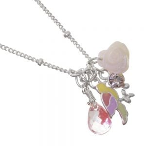 Silver parrot, rose and charm  Bird Charm Necklace