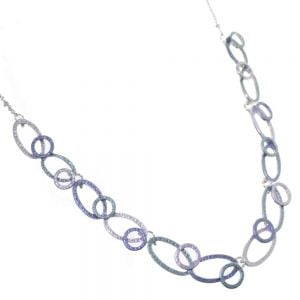 Beautiful Fashion Jewellery:  Metallic Sea Green and Grey Necklace with Linked Circles and Ovals