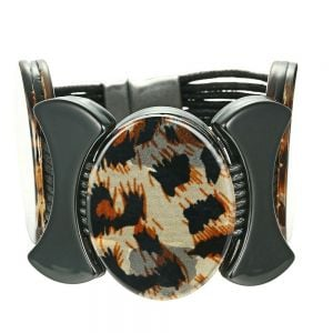 Magnetic Fashion Jewellery: Black Cord Bracelet with Chunky Leopard Print Ovals (YK170)