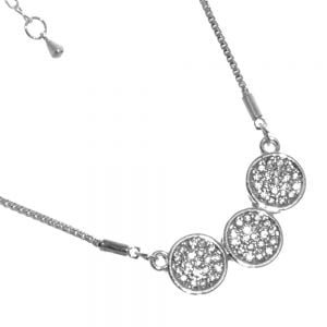 Gracee Fashion Jewellery: Delicate Silver Tone Necklace with Three Crystal Studded Circle Pendants (GR105)