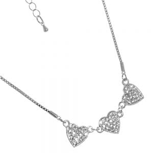 Gracee Fashion Jewellery: Delicate Silver Tone Necklace with Three Crystal Studded Hearts (GR103)