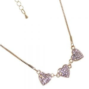 Gracee Fashion Jewellery: Delicate Rose Gold Tone Necklace with Three Crystal Studded Hearts (GR104)