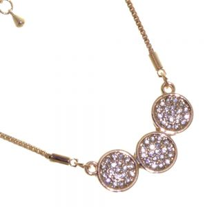 Gracee Fashion Jewellery: Delicate Rose Gold Tone Necklace with Three Crystal Studded Circle Pendants (GR105)