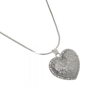 Rue B Fashion Jewellery:  Crystal Outline Heart Pendant with Crumpled Texture Silvery-Grey Centre