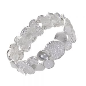 Fabulous Fashion Jewellery: Textured Grey and Matt White Statement Bracelet with Opalescent Stones