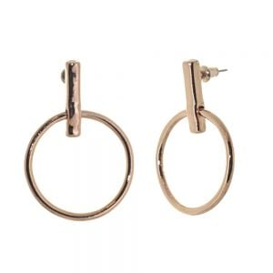 Contemporary Fashion Jewellery: Large Rose Gold Circle and Bar Earrings