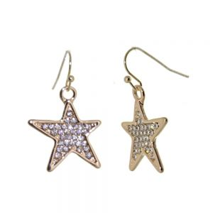 Rose Gold Tone Drop Earrings with Crystal Embellished Star Design