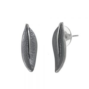 Beautiful Fashion Jewellery: Long Curling Leaf Studs in Matt Dark Grey Tone