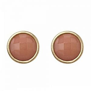 Dusty Pink and Gold Circle Stud