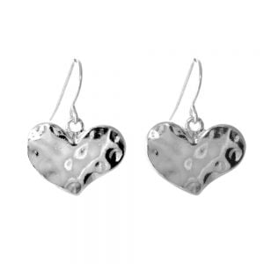 Hammered silver  heart earrings