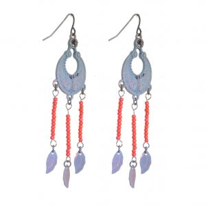 Boho Fashion Jewellery: Statement Hammered Turquoise and Red Bead Earrings with Long Dangly Rose Gold Chains
