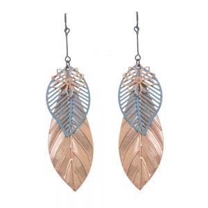 Boho Fashion Jewellery: Large Rose Gold and Silver Layered Leaf Statement Earrings