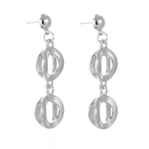 Statement Costume Jewellery: Chunky Silver Double Circle Drop Earrings (Stud Fastening)