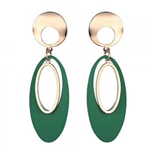Fabulous Fashion Jewellery: Statement Drop Earrings with Shiny Rose Gold and Rich Forest Green Oval Pieces