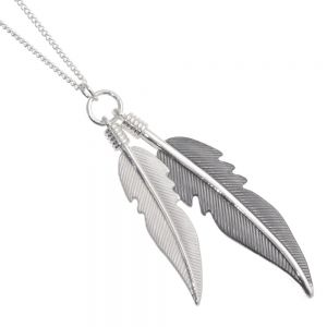 Long hand painted silver and grey feather necklace (M50)